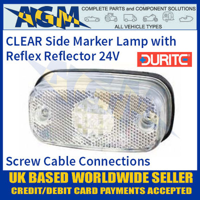 0-169-50 CLEAR/WHITE LED Side Marker Lamp with Reflex Reflector, 24V