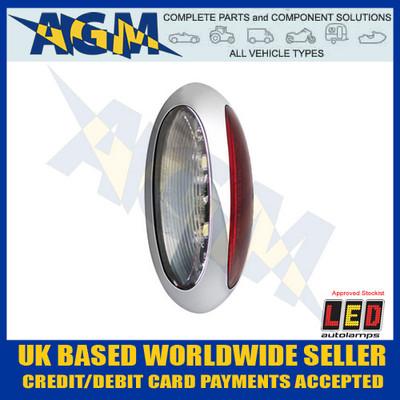 led, autolamps, 37crwm, front, rear, marker, chrome, clear, red, 12v/24v, light