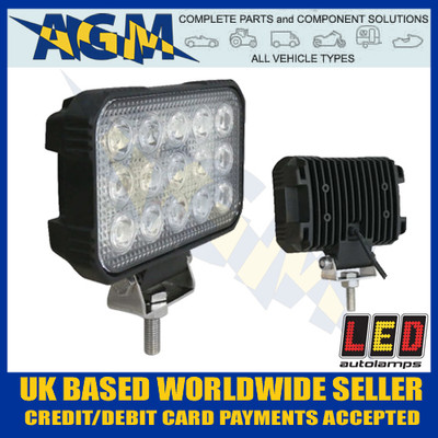 led, autolamps, 15045bm, rectangular, flood, lamp, 12v, 24v
