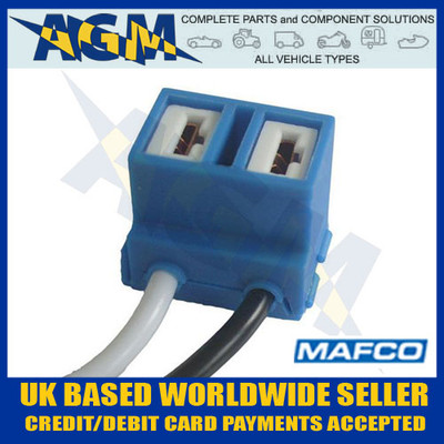 mafco, bh006, h7, ceramic, headlight, bulb, holder, connector, 100mm, angled, leads