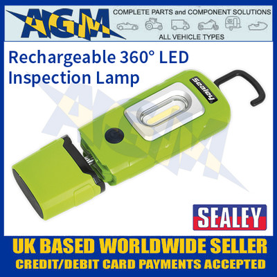 Rechargeable 360° Inspection Lamp 2W COB + 1W LED Green Lithium-Polymer