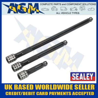 "Sealey AK7691 Wobble/Rigid Extension 3/8"" Three Piece Bar Set"
