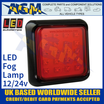 LED Autolamps 100FME Square Red LED Rear Fog Lamp, 12/24v