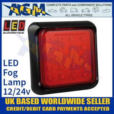 LED Autolamps 100FME Square Red LED Rear Fog Lamp, 12/24v