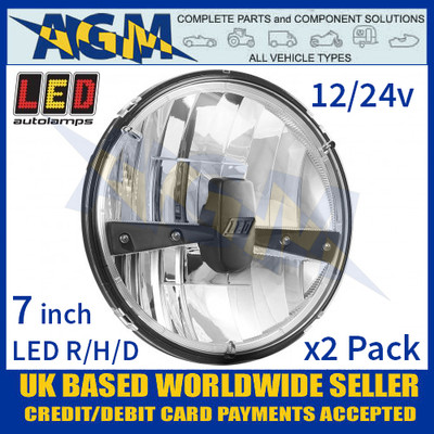 """LED Autolamps HLUK175 (x2) LED Right Hand Drive 7"""" Headlamps 12/24v"""
