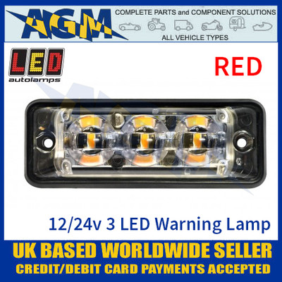 LED Autolamps SSLED3DVR Super-Slim Red 3 Block LED Warning Lamp