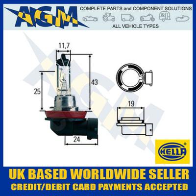 HELLA 12v H8 PGJ19-1 35w Halogen Headlamp Bulb (Single Bulb)
