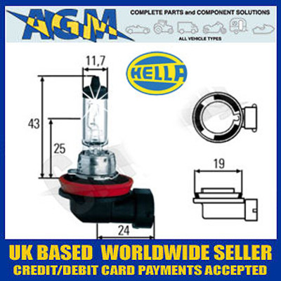 HELLA 12v H11 PGJ19-2 55w Halogen Headlamp Bulb (Single Bulb)