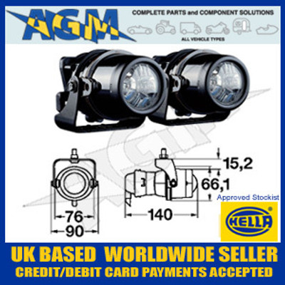 HELLA 1NL 008 090-821 Micro DE Fog Lamp Set Inc Fitting Kit