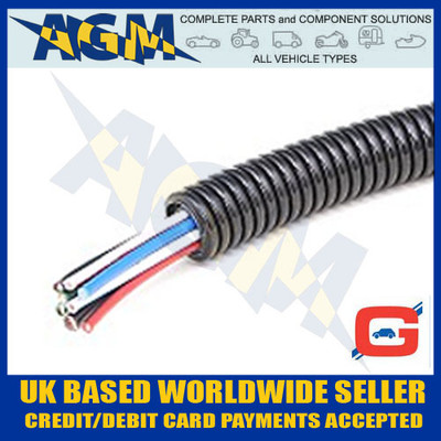 GUARDIAN GCT7 Convoluted Un-Split Black Nylon Tubing Trunking 10mm OD 10 Metre