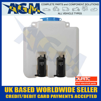 DURITE 0-594-02 Universal Windscreen Washer Bottle Kit TWIN 12 Volt - 3.0 Litre