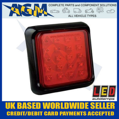 LED Autolamps Red Fog Light/Lamp 100mm Square Reversing 80FME/80FMP