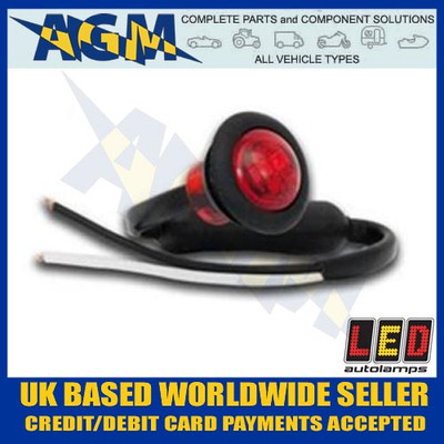 led, 181rme, trailer, round, front, marker, light, lamp, white, 12v, 24v