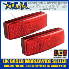 led, autolamps, 1490rm, pair, red, rear, marker, lamp, 12v, 24v