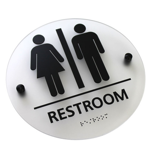 Ada Bathroom Signage ada compliant braille signs - unisex elegant restroom sign: 8¼