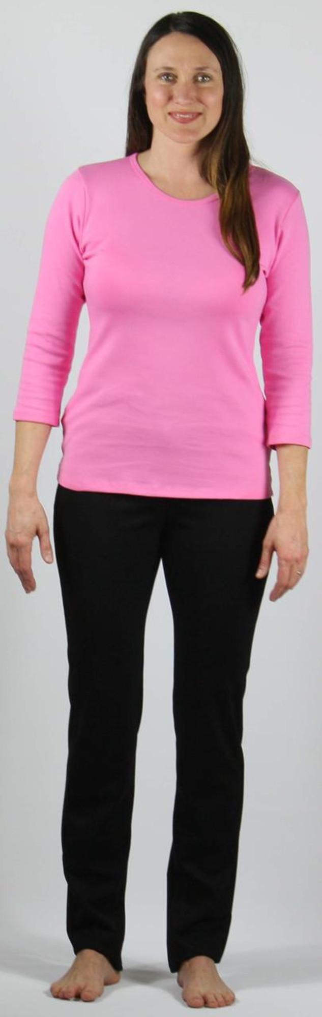"Ponte Knit Narrow Leg Pant on 5'8"" model, size small."