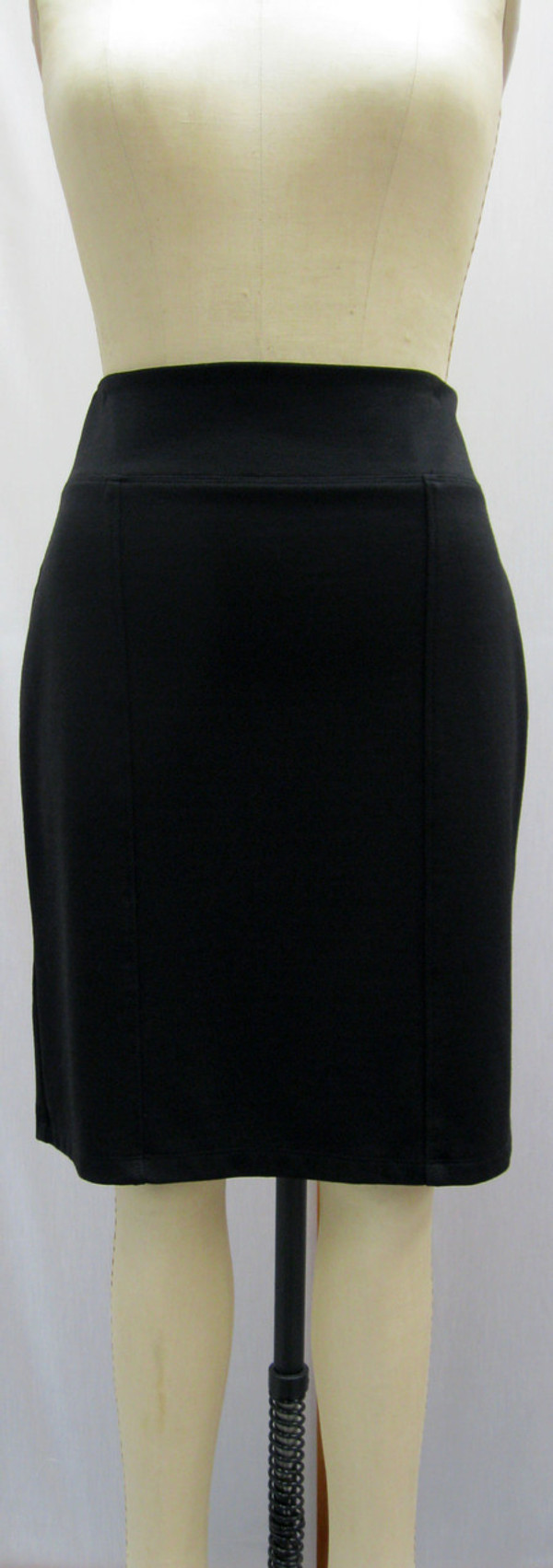 Ponte Knit Straight 6-Panel Skirt, Front, Black