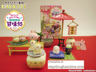 Re-ment Pisuke and Usagi Japanese Sweets, Re-ment Kanahei Japanese Sweets House, WITH DISPLAY (SOLD OUT)