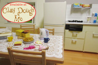 Re-ment DINING ROOM : DINING TABLE with FRIDGE & KITCHEN Set