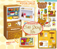LAST SET, COMPLETE SET Rilakkuma dining room : Rilakkuma refrigerator re-ment and all the contents , with table and chairs (SOLD OUT)