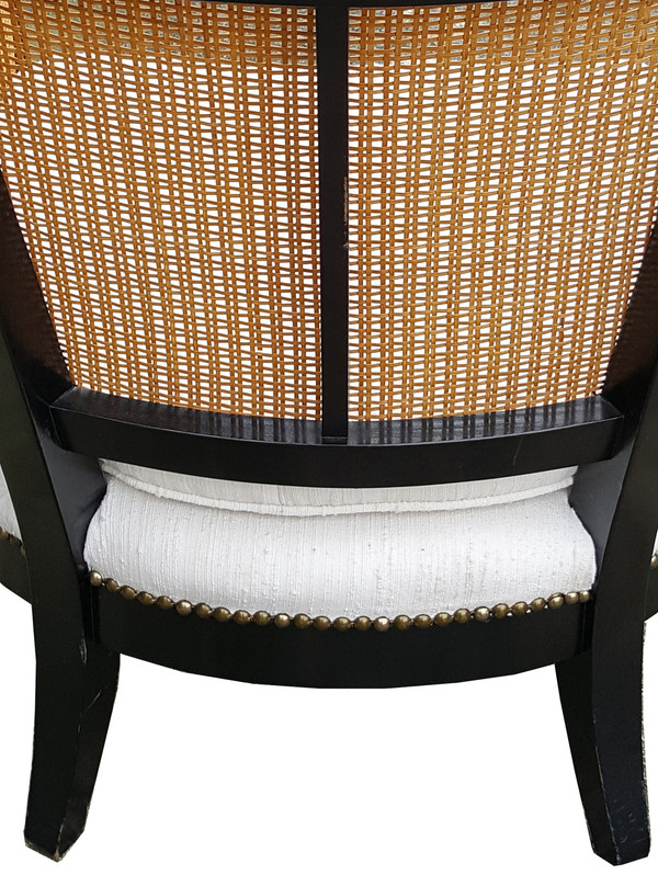 Classic Modern Chair in Lacquer and Silk