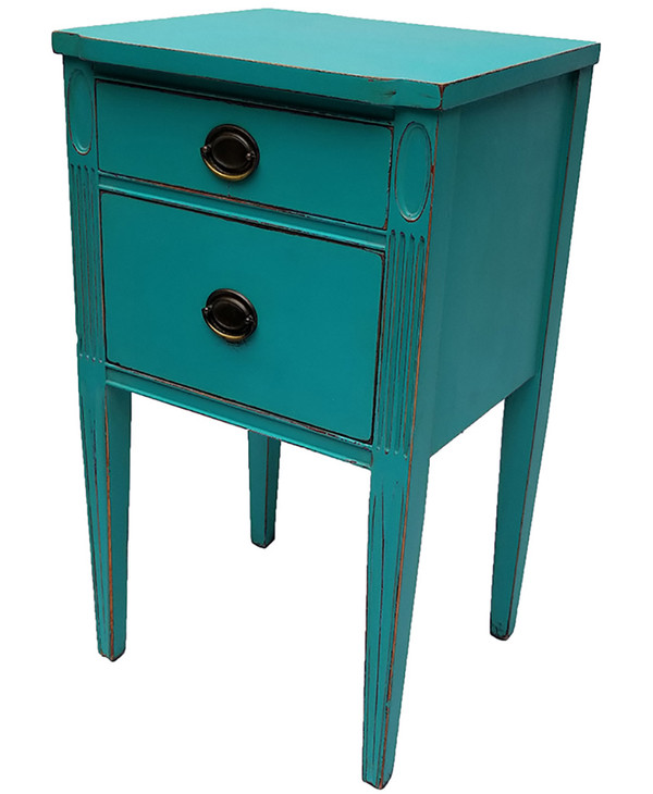 Side-Table with Drawers in Aqua Blue