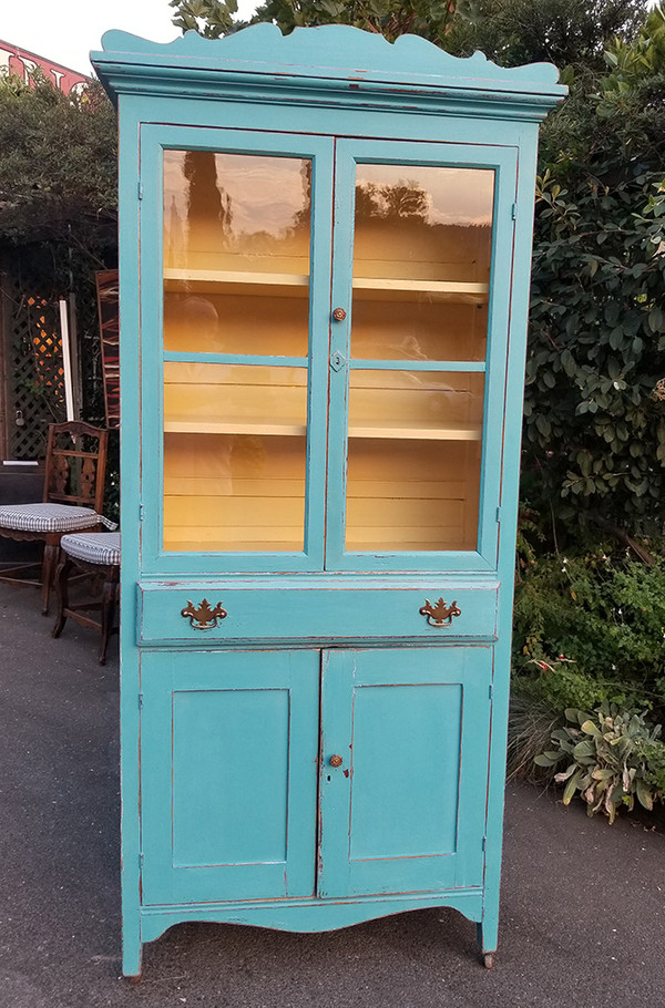 Antique Hutch in Aqua and Yellow front