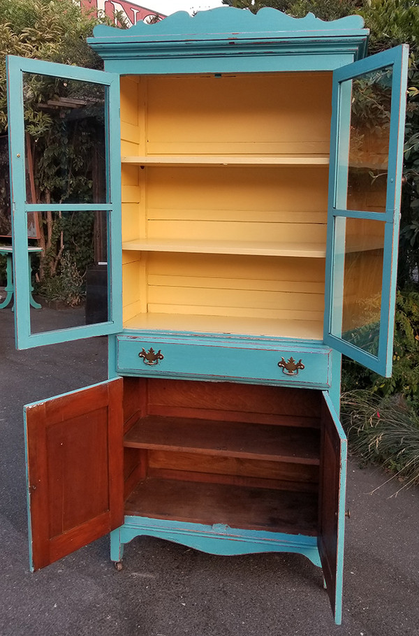 Antique Hutch in Aqua and Yellow Front with open doors