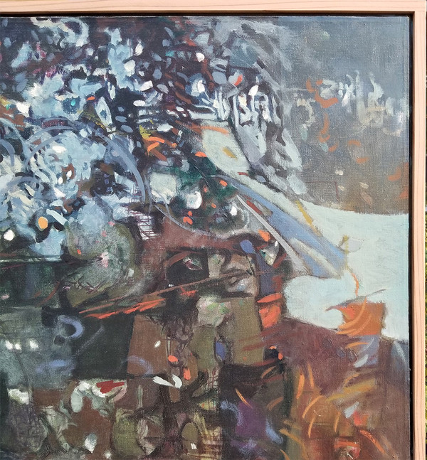 upper right detail of Mama Mom Mother Never Gone Abstract Oil on canvas by Lois Foley