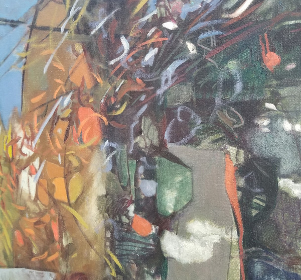 Central detail of Mama Mom Mother Never Gone Abstract Oil on canvas by Lois Foley