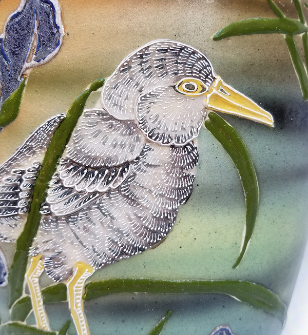 Bird and Iris Ceramic Vase bird detail