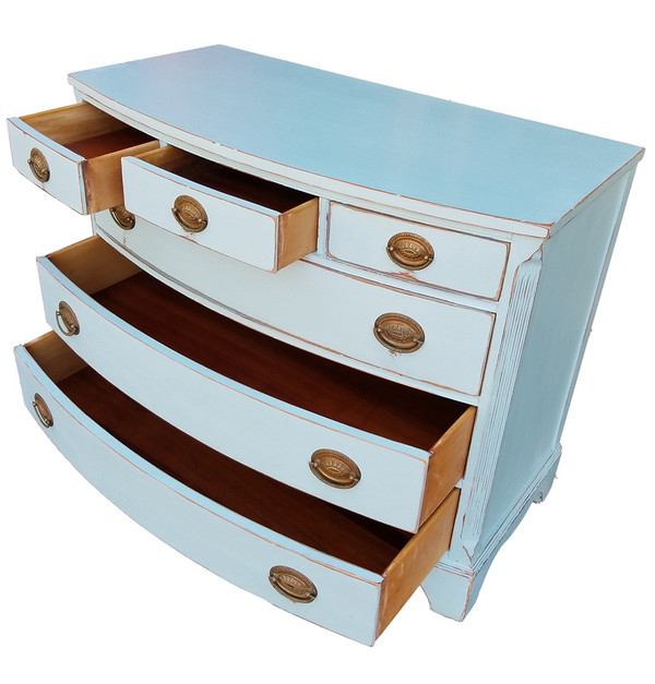 Federal Style Bowfront Dresser open