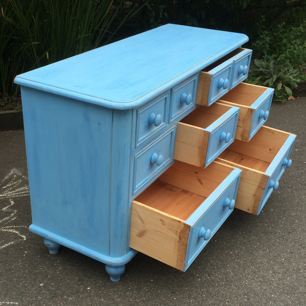 Country Blue Dresser open