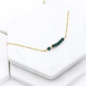 Malachite Beaded Necklace in Gold