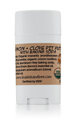 Organic Deodorant Lemon & Clove Pit Putty with Baking Soda