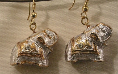 Elephant Earrings. Ecru