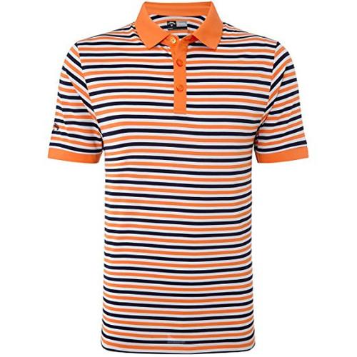 Callaway Mens Chev Striped Golf Polo Shirt Carrot Med