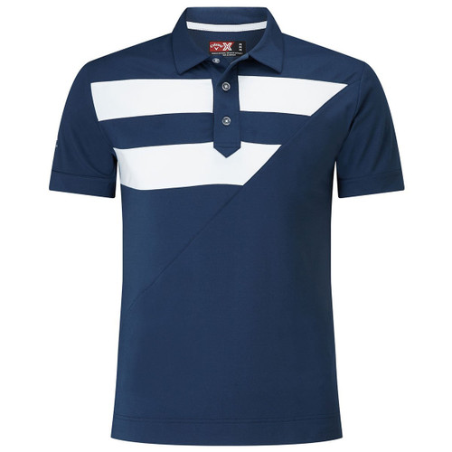 Callaway Golf Mens Striped Diagonal Polo Insignia Blue