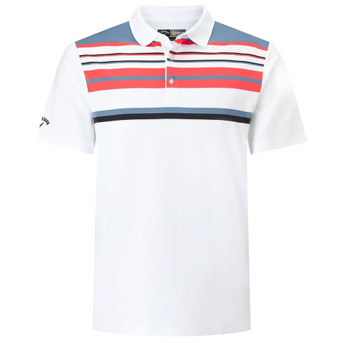 Callaway Golf Mens Engineered Roadmap Striped Polo Shirt White