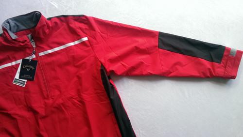 Callaway Mens 1/4 Zip Golf Wind Jacket Chest Stripe Red Med