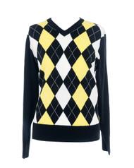 JRB Ladies Golf Sweater Black/White/Lemon