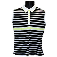 JRB Ladies Sleeveless Golf Shirt Black/White/Lemon Striped