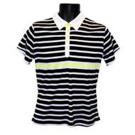 JRB Ladies Golf Shirt Black/White/Lemon Striped
