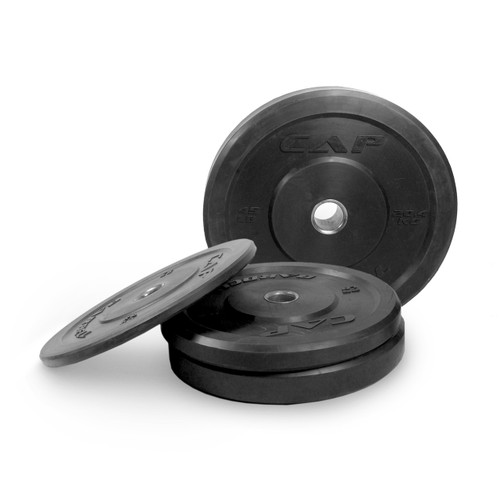 Multiple weights of CAP Olympic Rubber Bumper Plate, Black