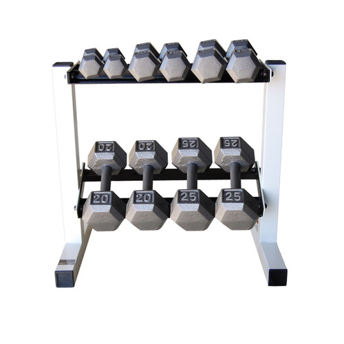 150 lb cap gray cast iron hex dumbbell set with rack