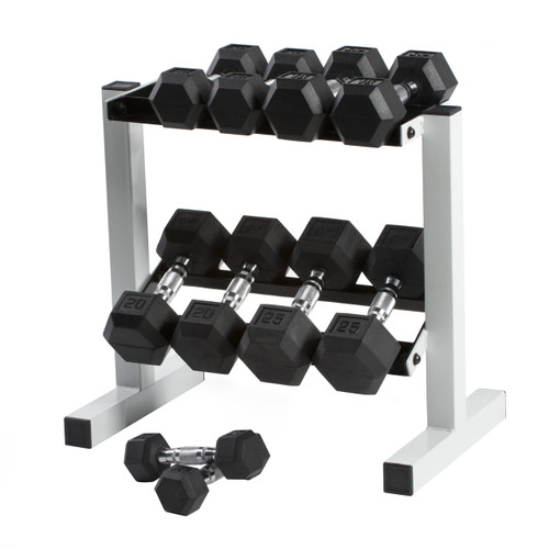 150 lb CAP Rubber Coated Hex Dumbbell Set with Rack