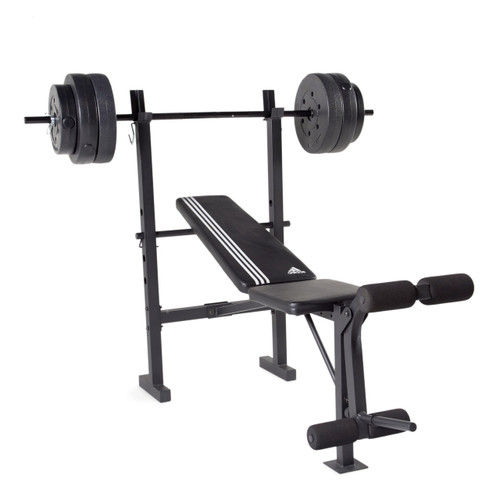 adidas combo training bench with weight set 100 lb