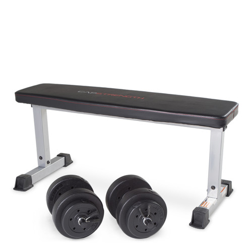 CAP Strength Flat Bench with Adjustable Dumbbell Set