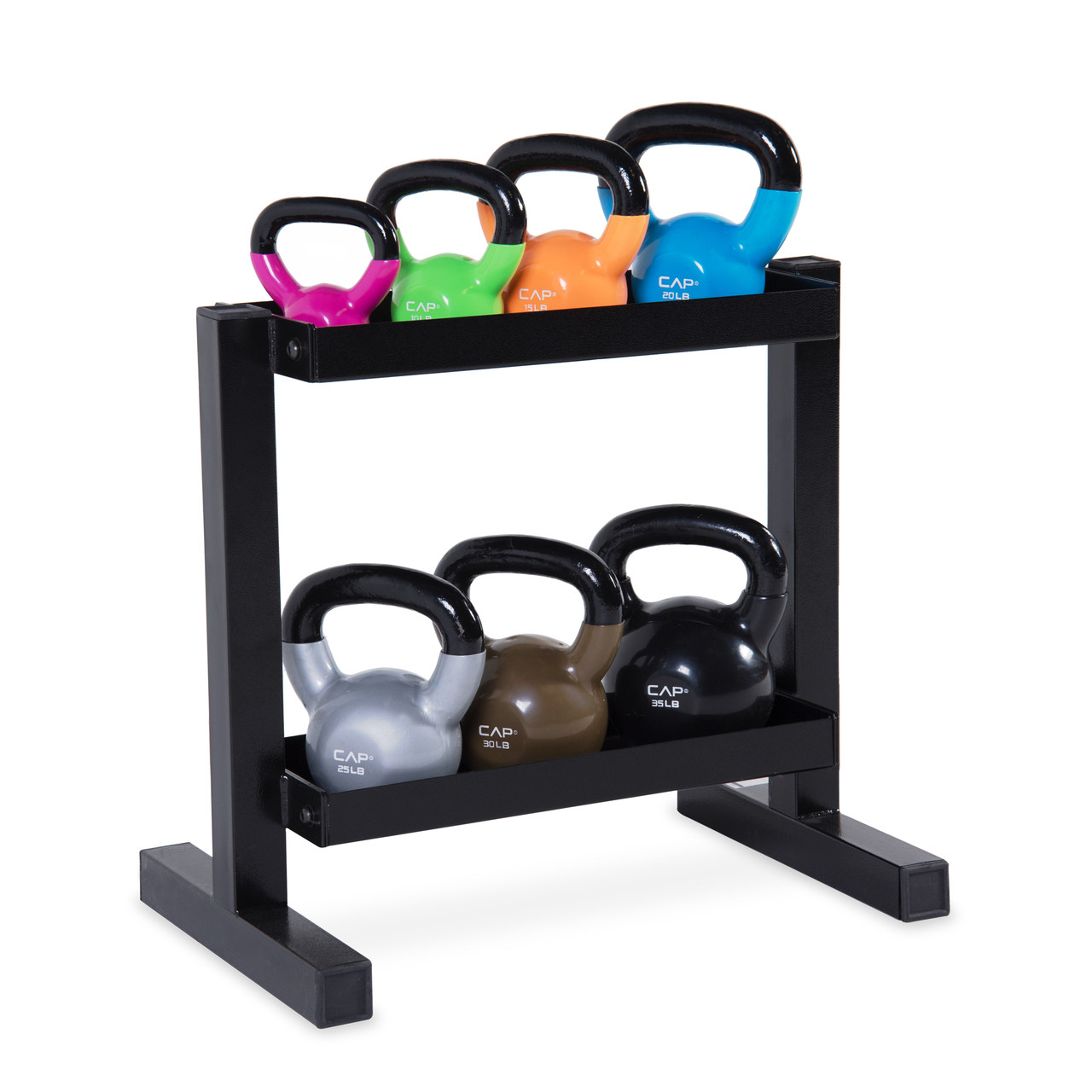 Cap Vinyl Dipped Kettlebell Set With Rack 140 Lb Cap