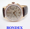 18k Rose BONDEX Winding CHRONOGRAPH Watch Landeron 51 c.1950s* EXLNT* SERVICED